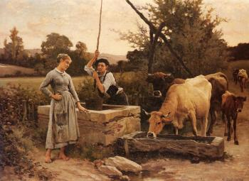 Edouard Bernard Debat-Ponsan : At the Well